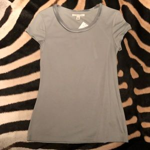 NWT Silvery Grey Satin Neck Detail T Shirt